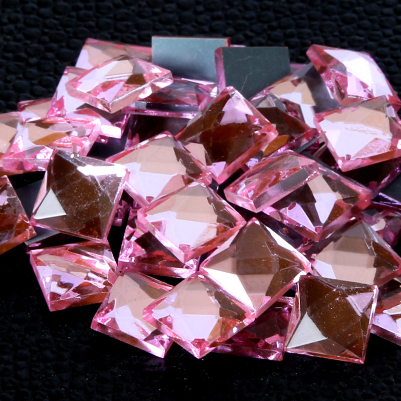 Pink square flat back glass crystal rhinestones apply to watch Decoration and DIY mobile ...