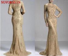Шампанское 2018 вечерние платья кружева с длинными рукавами