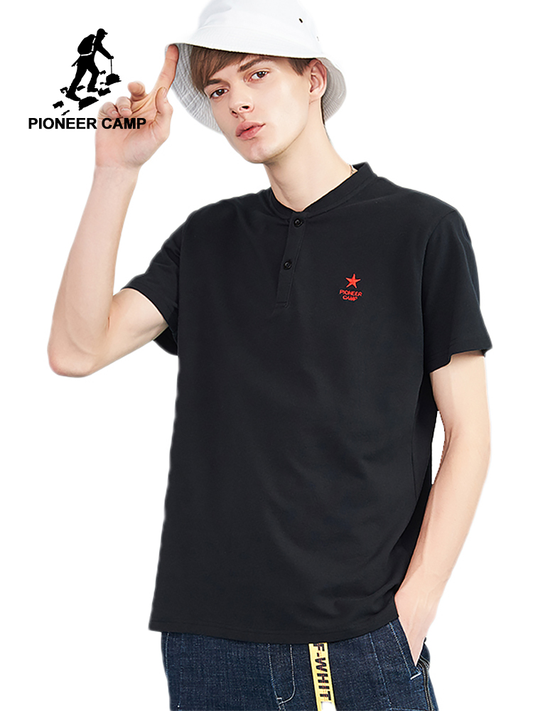 Pioneer camp new  polo shirt men band clothing casual 100% cotton breathable polo men quality polos male black ADP802146