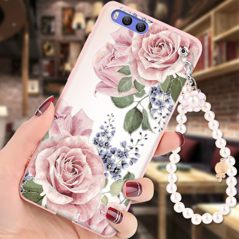 Xiaomi Mi6 Case Soft Silicon 3D Relief Painting Pearl bracelet Fashion Girl Back Cover capa for