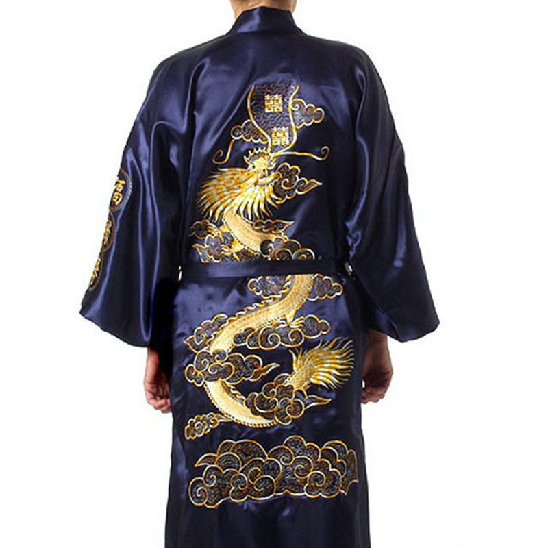 Navy Blue Chinese Men s Satin Silk Robe Embroidery Kimono Bath Gown Dragon Size S M