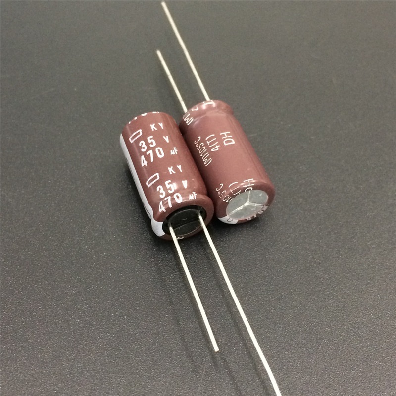 100pcs 470uF 35V NIPPON NCC KY Series 10x20mm Low Impedance Long Life 35V470uF Aluminum Electrolytic Capacitor