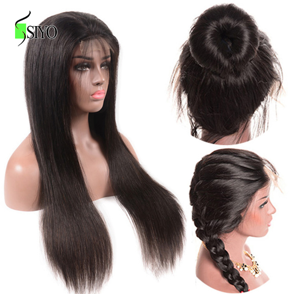 Siyo 4X4 Lace Front Human Hair Wigs 150% Density Malaysian Straight U Part Wig Remy Lace Frontal Wigs Per Plucked