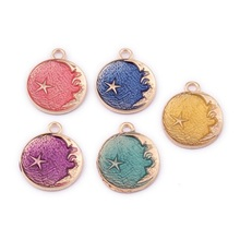 TJP 10pcs Gold Colorful Enamel Drop Oil Star Round Charms Pendants for Necklaces DIY Handmade Jewelry Making Findings 21x26mm