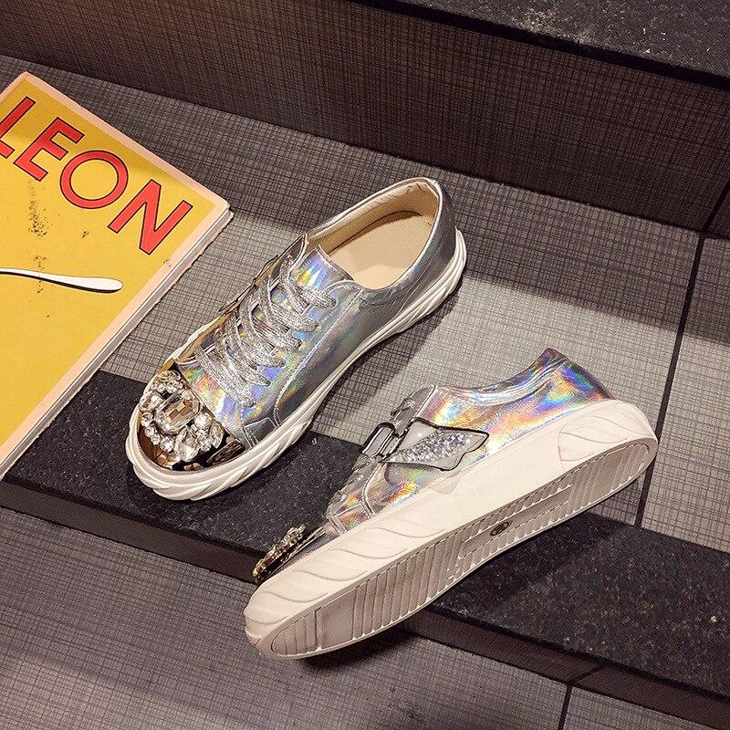 Ry-relaa femmes baskets chaussures pour femmes européennes printemps nouvelles chaussures en strass femmes ins tide chaussures plates chaussures de sport - 4