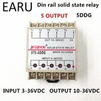 1pc 5DDG 5 Channel Din Rail SSR Quintuplicate Five Input 3 32VDC Output 5 36VDC Single