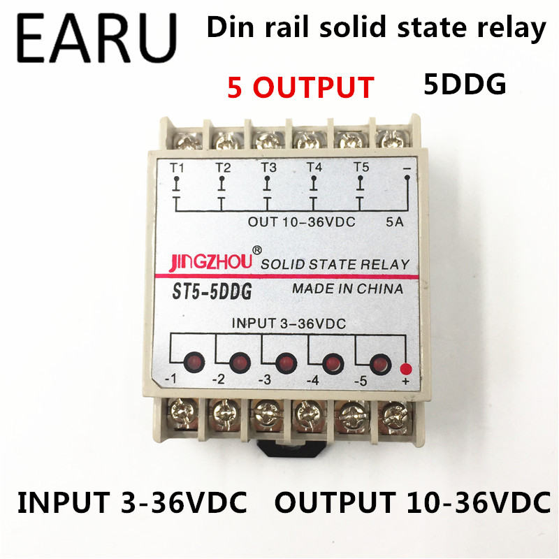 1pc 5DDG 5 Channel Din rail SSR Quintuplicate Five Input 3~32VDC Output 5~36VDC Single Phase DC Solid State Relay PLC Module 20dd ssr control 3 32vdc output 5 220vdc single phase dc solid state relay 20a yhd2220d