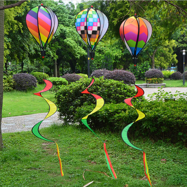 Hot Air Balloon Wind Spinner Garden Yard Outdoor Decor Child Gift Festival Celebration Rainbow Stripe Or