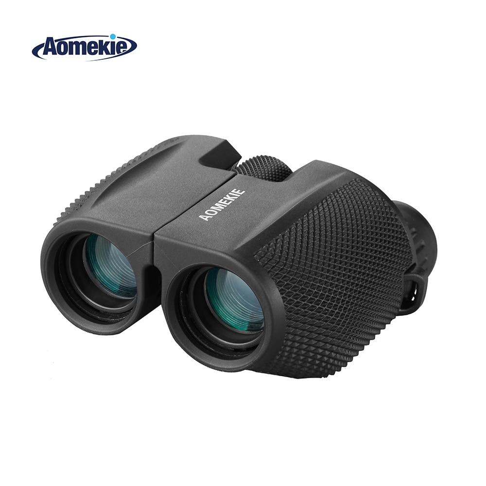AOMEKIE 10X25 Binokļi Kompakts āra medību kempings Putnu vērošanas sporta teleskops HD optiskā stikla prizma