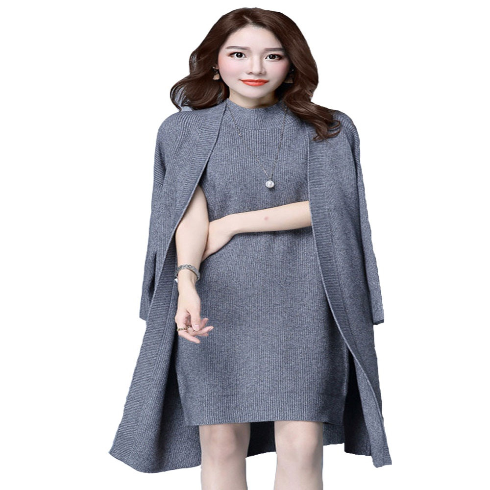 2016-Spring-Autumn-Women-Elegant-Dress-Suits-two-piece-Dress-with-Jacket-Knitted-Plus-Size-professional