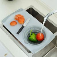 None 2 in 1 Multi function Sink Drain Basket Cutting Board for Meat Vegetable Fruit Supplies