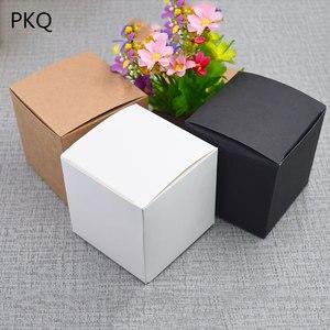 Image 2 - 50 sztuk papierowe opakowanie kraft box czarny/biały/papier pakowy kwadratowe pudełko na cukierki impreza weselna upominek prezent Box czarny paeprcardboard Box