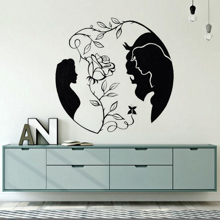 Home-Decor-Beauty-and-the-Beast-Vinyl-Wall-Decal-New-Design-Rose-Wall-Sticker-Inspired-Love