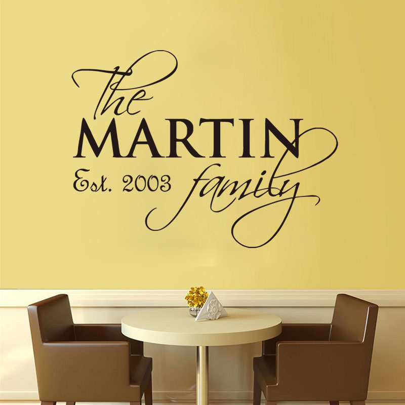 Custom Name Family Est Personalized Vinyl Wall Decals Removable - Personalized vinyl wall decals