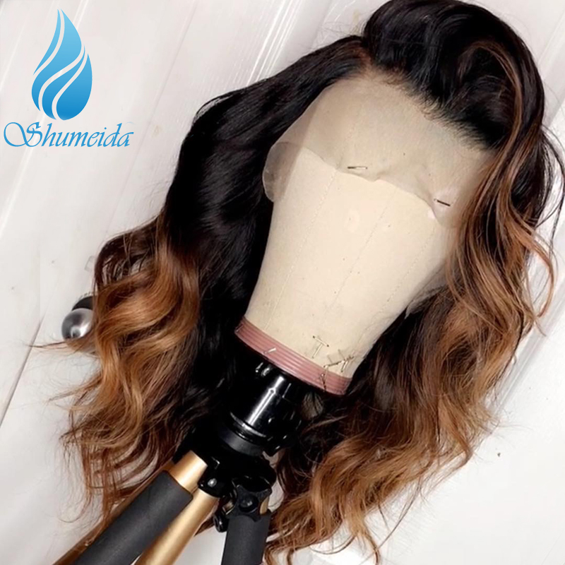 SHD Ombre Color Human Hair 13 6 Lace Front Wig with Deep Part Line Brazilian Body
