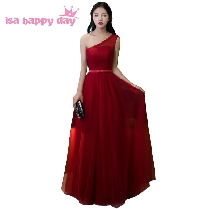simple elegant burgundy sleeveless   bridesmaid     dresses   one shoulder   bridesmaids     dress   for wedding guest under $50 H3738