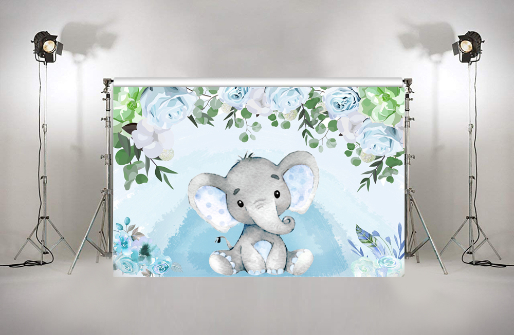 Us 6 2 38 Off Photography Background Blue Flowers Boy Elephant Baby Shower Birthday Party Decorations Custom Photo Studio Backdrop W 1541 In