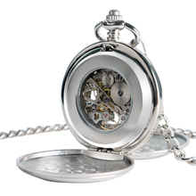 Steampunk Pocket Watch Clock Women Wind Up Mechanical Hand Wind Smooth Silver Pendant white Dial Simple Stylish FOB