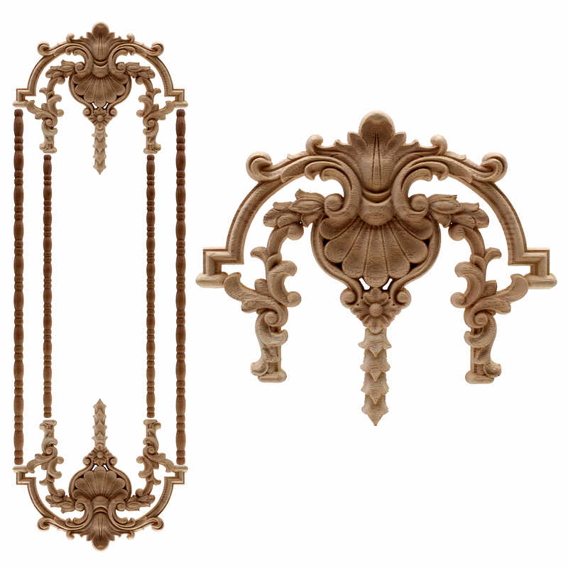 VZLX Floral Wood Carved Decal Corner Appliques Frame Wall Furniture Woodcarving Decorative Wooden Figurines Crafts Home Decor