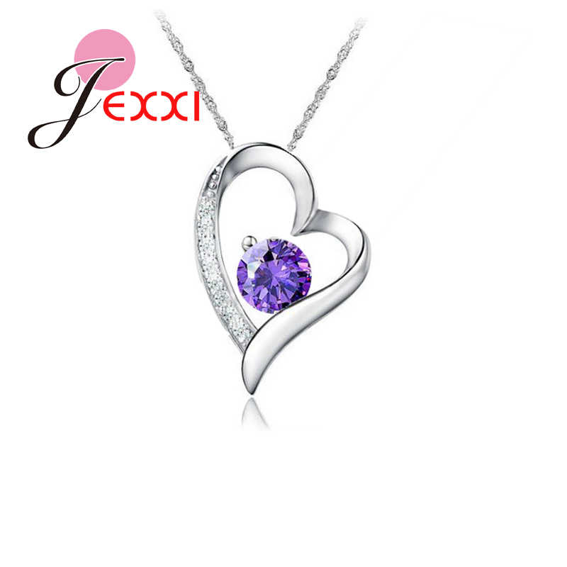New Fashion Sweet Heart Simple 925 Sterling Silver White&Purple Cubic Zirconia Pendant Necklace For Women Birthday Gift