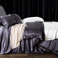 Satin 100 Pure Mulberry Silk Bedding Sets Duvet Cover Flat Sheet Pillowcase 4pcs Queen King Quilt
