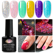 MEET ACROSS 7ml Holographic Gel Nail Polish Neon Shimmer Shining Glitter Soak-Off UV LED Long-lasting Varnish Lacquer