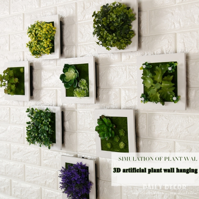 24 types ! 3D artificial Succulent Plants frame wall decoration high ...