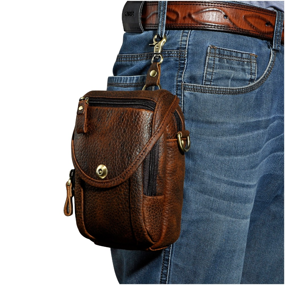 Real Leather Men Design Casual Multifunction Small Messenger Crossbody Bag Fashion Waist Belt Bag Hook Pack 5