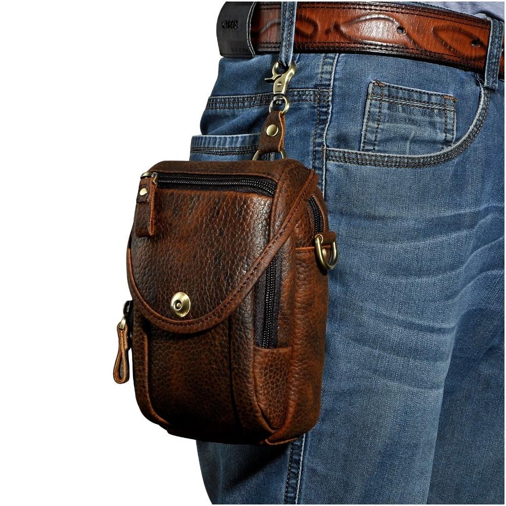 Real Leather Men Design Casual Multifunction Small Messenger Crossbody Bag Fashion Waist Belt Bag Hook Pack 5