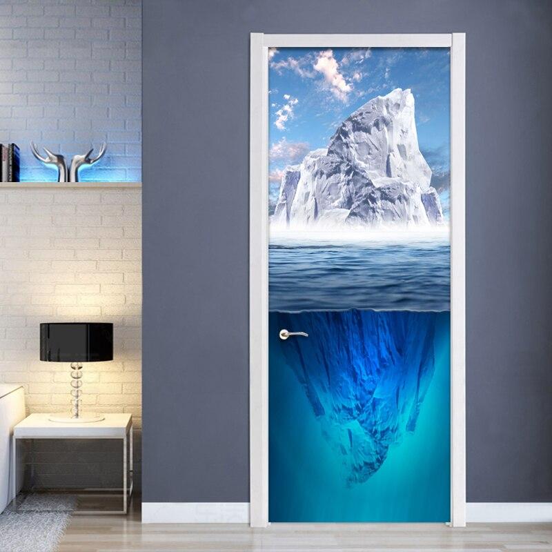 Modern Creative Blue Iceberg Door Sticker 3D Wallpaper Living Room Bedroom Home Decoration Wall Decals Vinyl 3D Mural Stickers