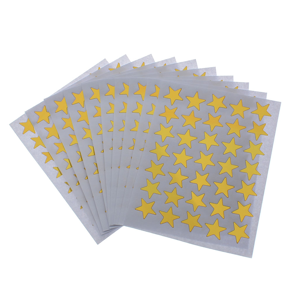 10pcs/pack Mini Gold Color Star Stickers Teacher Label Reward Cute Stickers Children Students Gift Stationery School Supplies