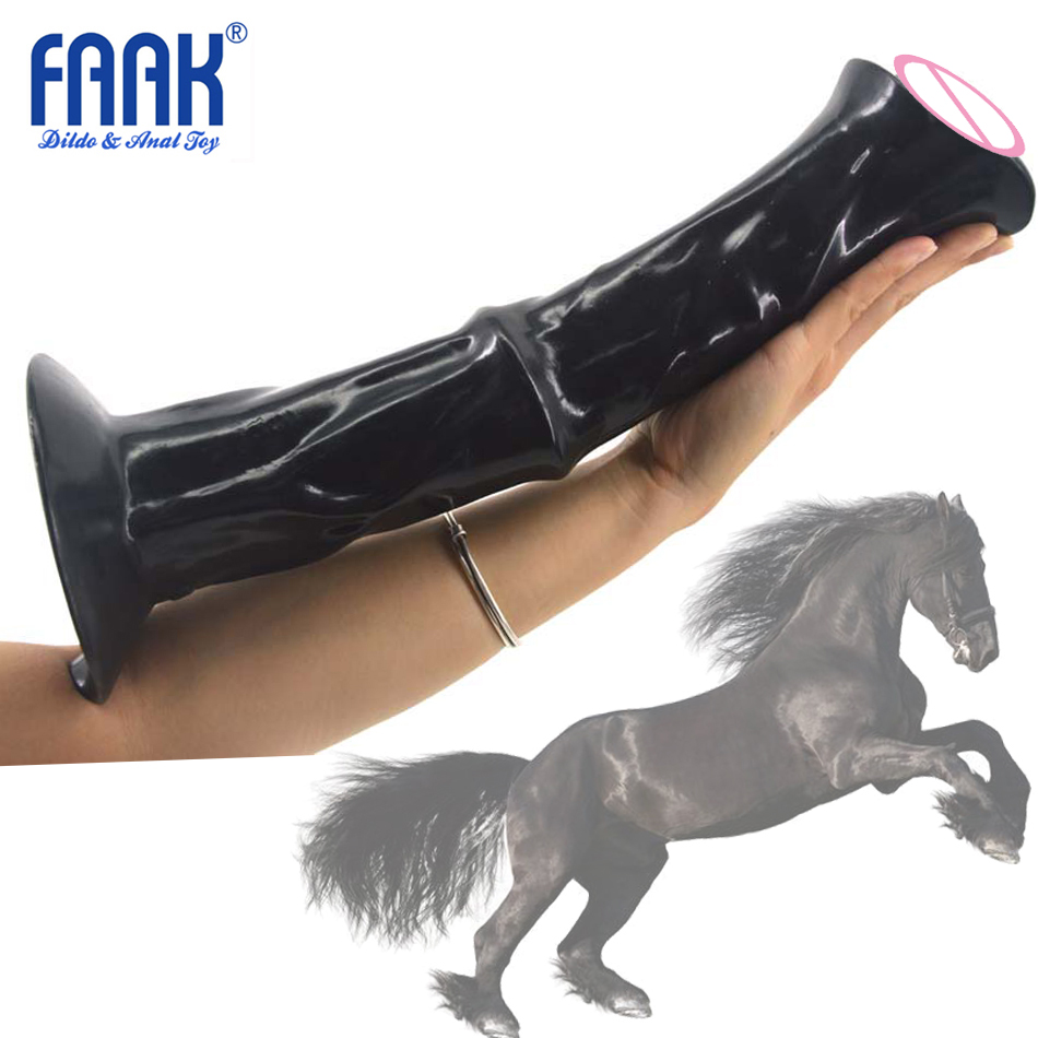 FAAK 35.5cm Long Realistic Horse Dildo Big Thick Animal Penis Sex Toys For Woman Vaginal Butt Massage Masturbation Huge Cow Dick free shipping 1piece lot top quality 100% aluminium material waterproof ip67 standard aluminium box case 64 58 35mm