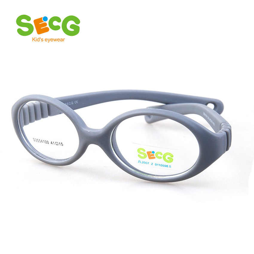 SECG Myopia Optical Round Children Glasses Frame Solid TR90 Rubber Diopter Transparent Kids Glasses Flexible Soft Eyewear