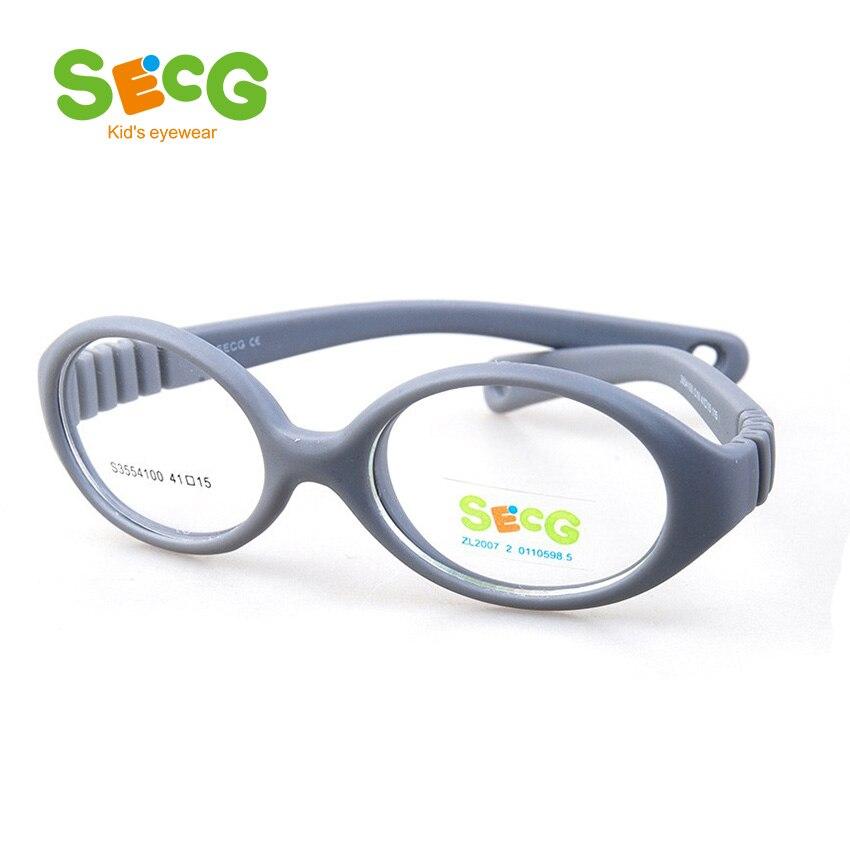 SECG Myopie Optique Ronde Enfants Lunettes Cadre Solide TR90 Caoutchouc Dioptrique Transparent Enfants Lunettes Flexible Souple Lunettes
