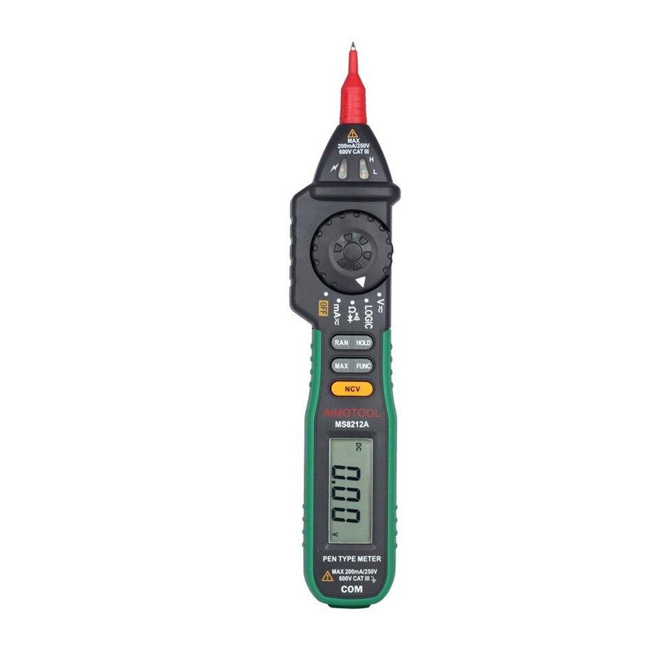 Mastech MS8212A Pen tipo Multímetro Digital DC/AC Tensão Corrente Multimetro Testador Tensão de Diodo Continuidade Lógica Não-contato