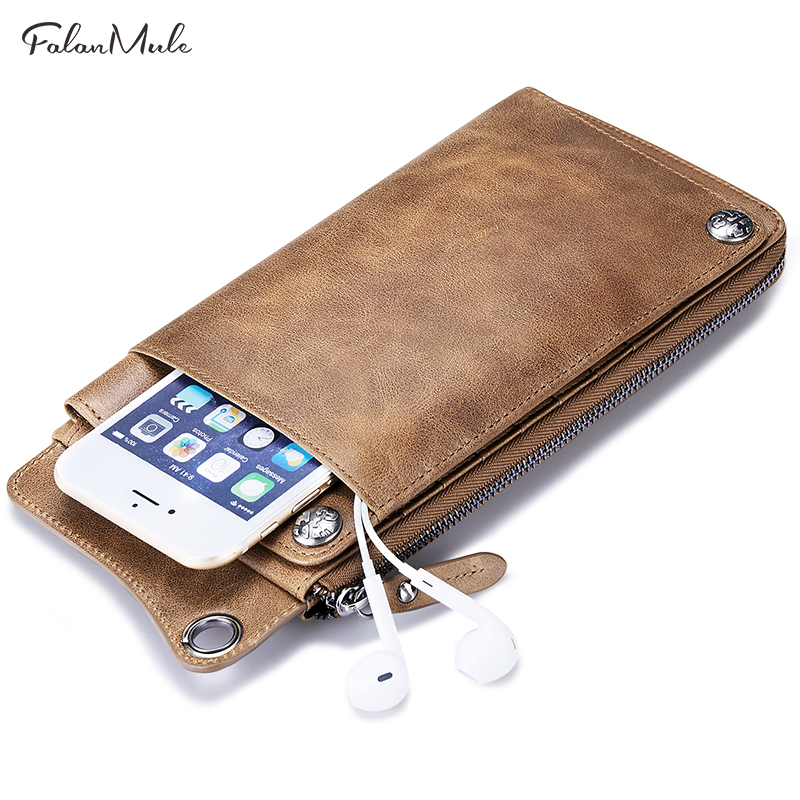 FALAN MULE Luxury Brand Genuine Leather Wallet Men Coin Purse Male Wallet Vintage Male Clutch Fashion Men Wallets Card Holder hot genuine leather men wallets long zipper coin purse 2018 luxury brand vintage male clutch cowhide leather wallet card holder