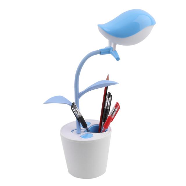 Criativo Bonito Pássaros na Árvore Forma LED USB Recarregável Lâmpada Olho Proteção da Lâmpada de Leitura Penholder quente