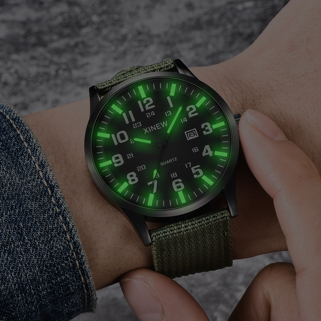 2019 Men Boy Round Dial Nylon Strap Band Military Army Date Quartz Wrist Watch Gift Pointehigh Innrech Market.com