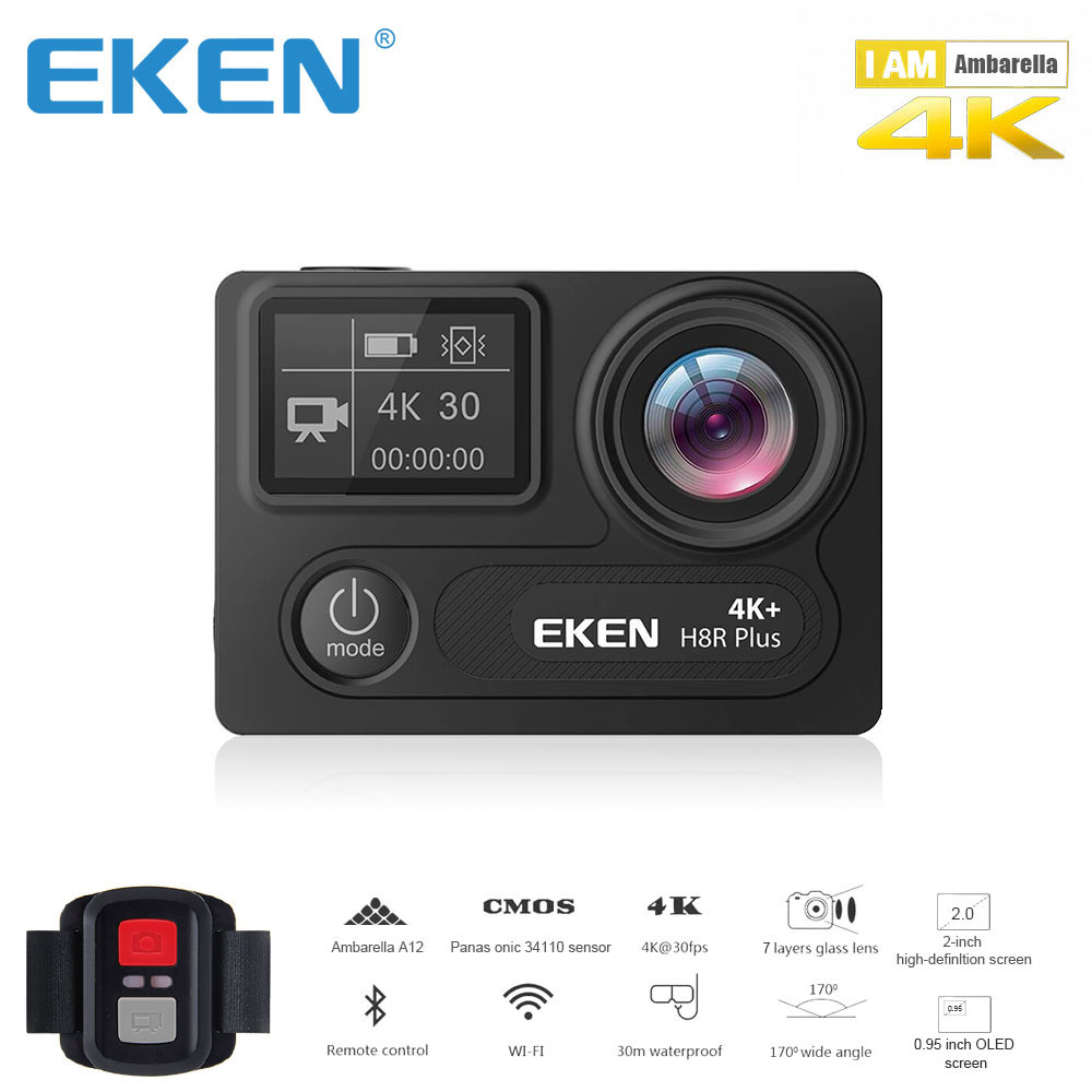 Оригинал екеn H8R плюс Ultra HD экшн-камера с 4 к 30FPS разрешение и 30 м waterporoof 2,0 камера с экраном go sport камера pro