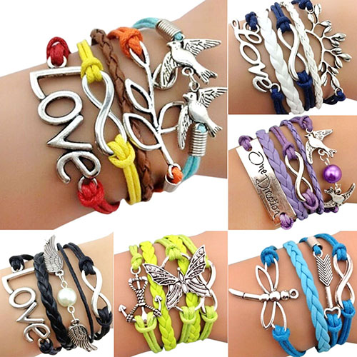 Bluelans Fashion Jewelry Braided Rope Cute Infinity Silver Alloy Charm Bracelet Lots Style