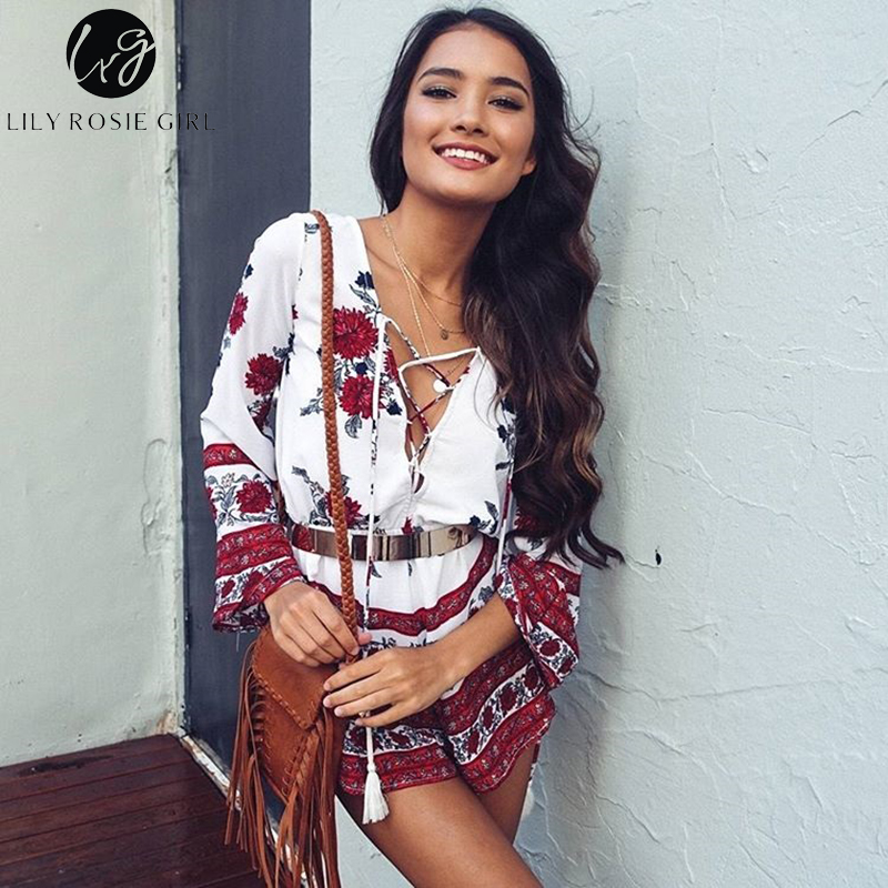 Boho Red Floral Print Women   Jumpsuit   Romper Summer Style Lace Up V Neck Sexy Party Playsuit 2019 Beach Elegant Short Overalls