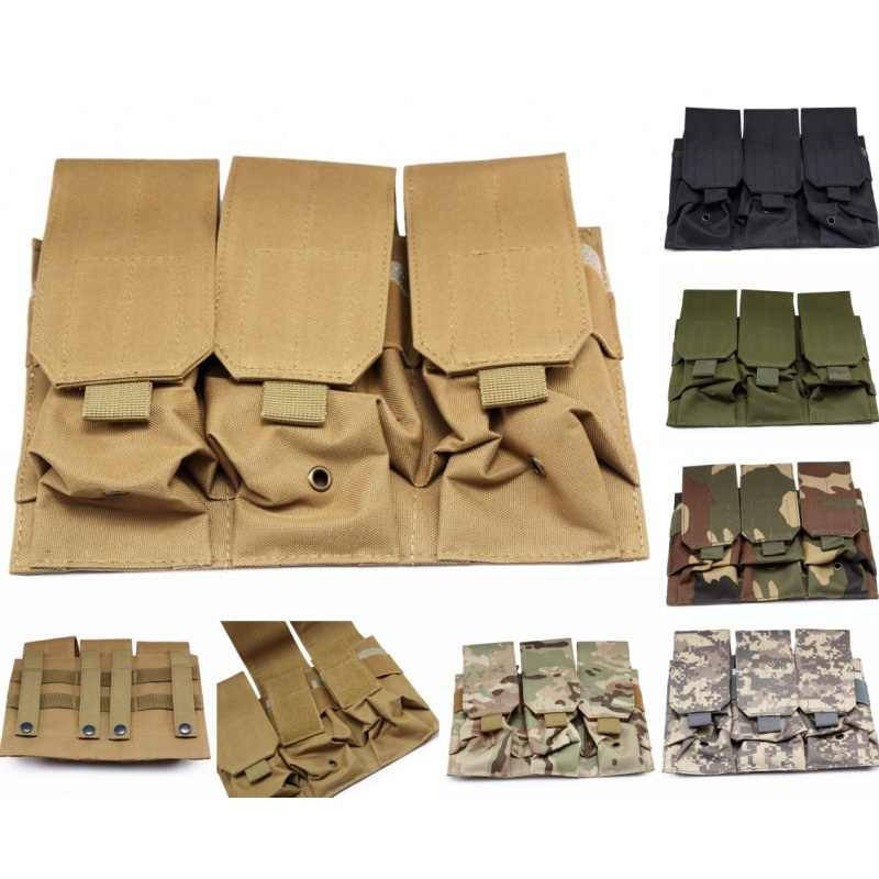 Cqc Militaire Triple M4/M16 5.56 .223 Ak AR15 Molle Tactical Magazine Pouch Geweer Pistool Airsoft Paintball Jacht Mag Bag