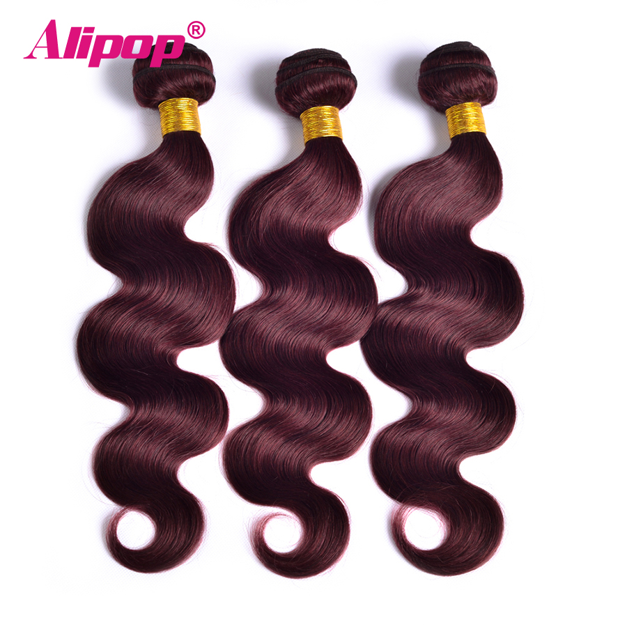 Alipop Hair Burgundy Brazilian Hair Weave Bundles Body