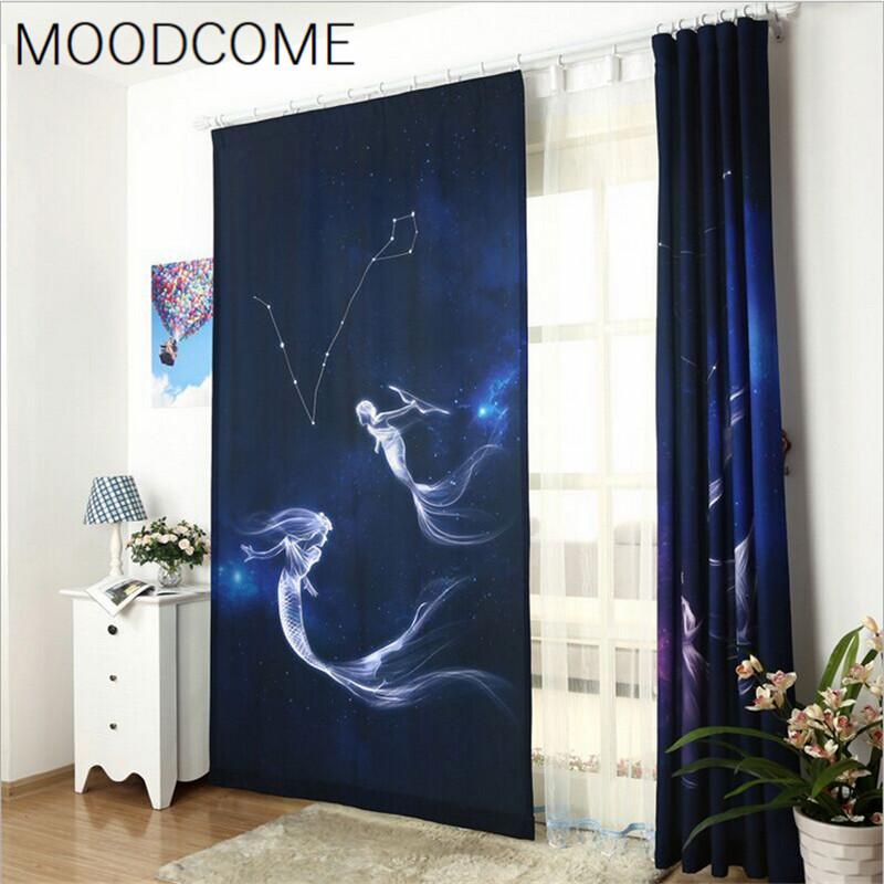 Curtains For Living Dining Room Bedroom Constellation Aquarius Pisces Taurus Gemini Cancer Leo Mermaid Cartoon Cloth In From Home Garden
