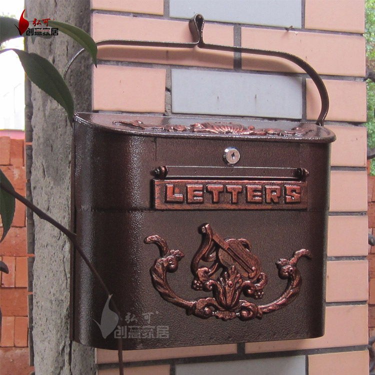 cast iron wall mailbox with newspaper zeitung holder mail letters post box antique solid metal villa mailbox