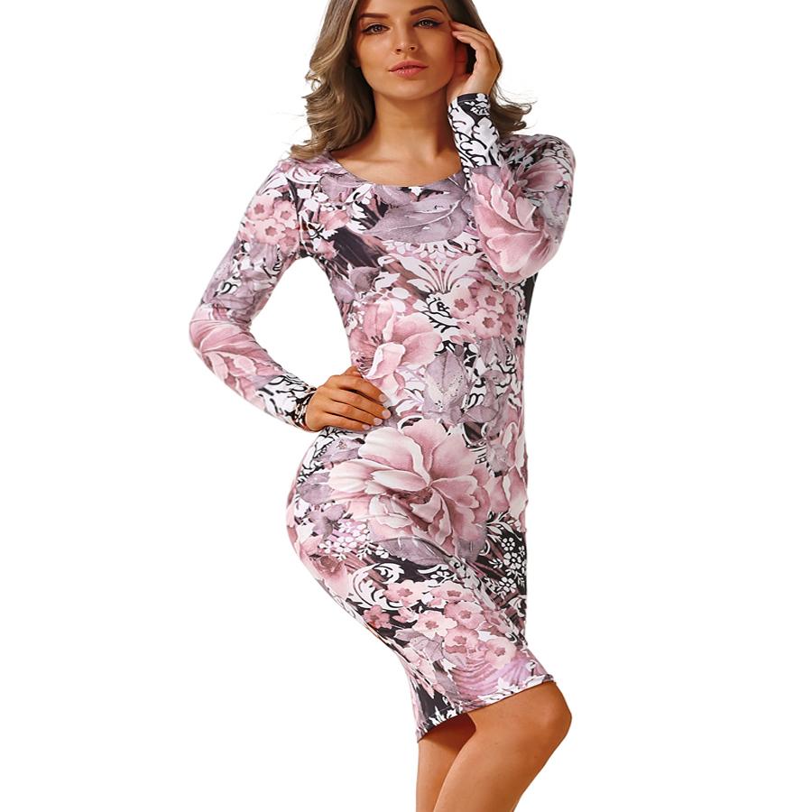 2017 Autumn Dress Pencil sheath Sexy Bodycon Dresses Female Package hip Robe Fashion Women's Sexy Club Round Neck Vintage Dress 4