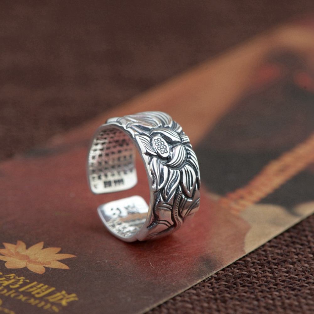Balmora vintage flower 990 pure silver buddhistic lotus flower open balmora vintage flower 990 pure silver buddhistic lotus flower open rings for women gift thai silver jewelry accessories sy20818 in rings from jewelry izmirmasajfo