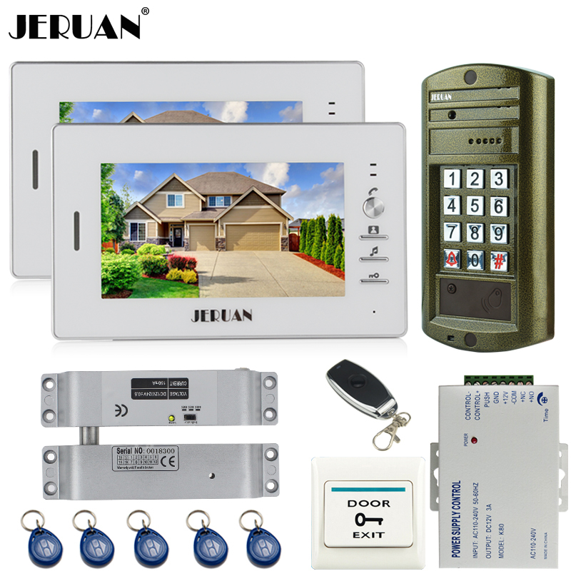 JERUAN 7 inch LCD video door phone intercom system kit + NEW Metal waterproof Access password keypad HD Mini Camera +2 Monitor jeruan home 7 inch video door phone intercom system kit new metal waterproof access password keypad hd mini camera 2 monitor