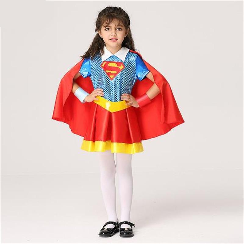 Girls Costumes Shop For Cheap 2018 Movie Superman Kal-el Clark Kent Girls Cosplay Costumes Halloween Christmas Girls Childrens Dresses Cloak Bracelet Belt