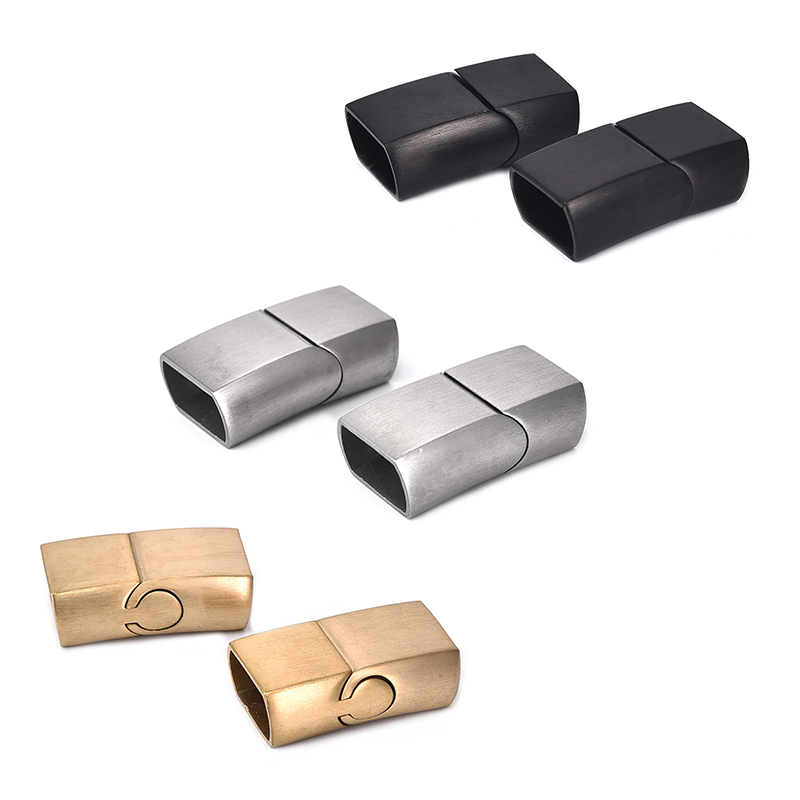 2Sets Stainless Steel Clasps Oblate Buckle Magnet Hook Jewelry Findings Leather Bracelet Magnetic Clasp DIY Jewelry Making